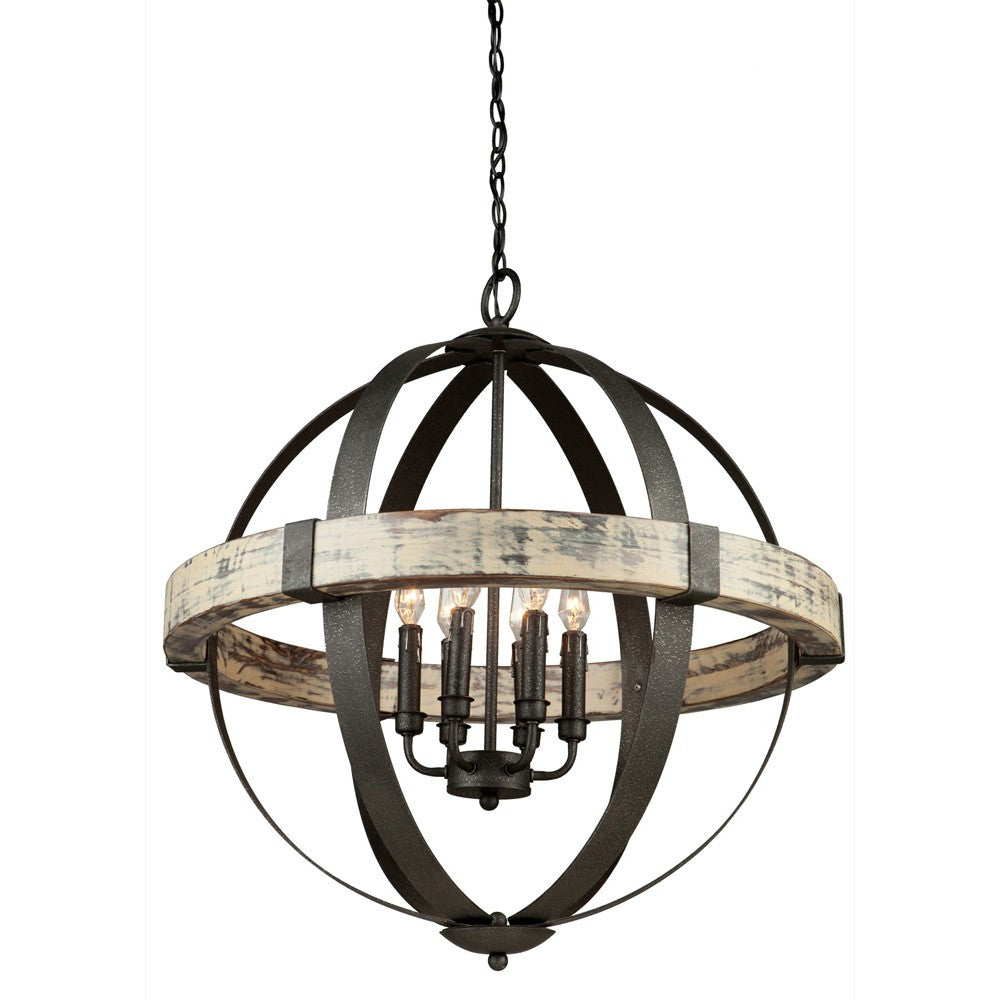 Costello 6 Light Black Metal and Wood Orb Chandelier by Artcraft Lighting AC10016
