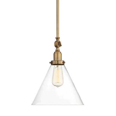Drake Pendant by Savoy House in Warm Brass with clear glass cone shade 7-9132-1-322