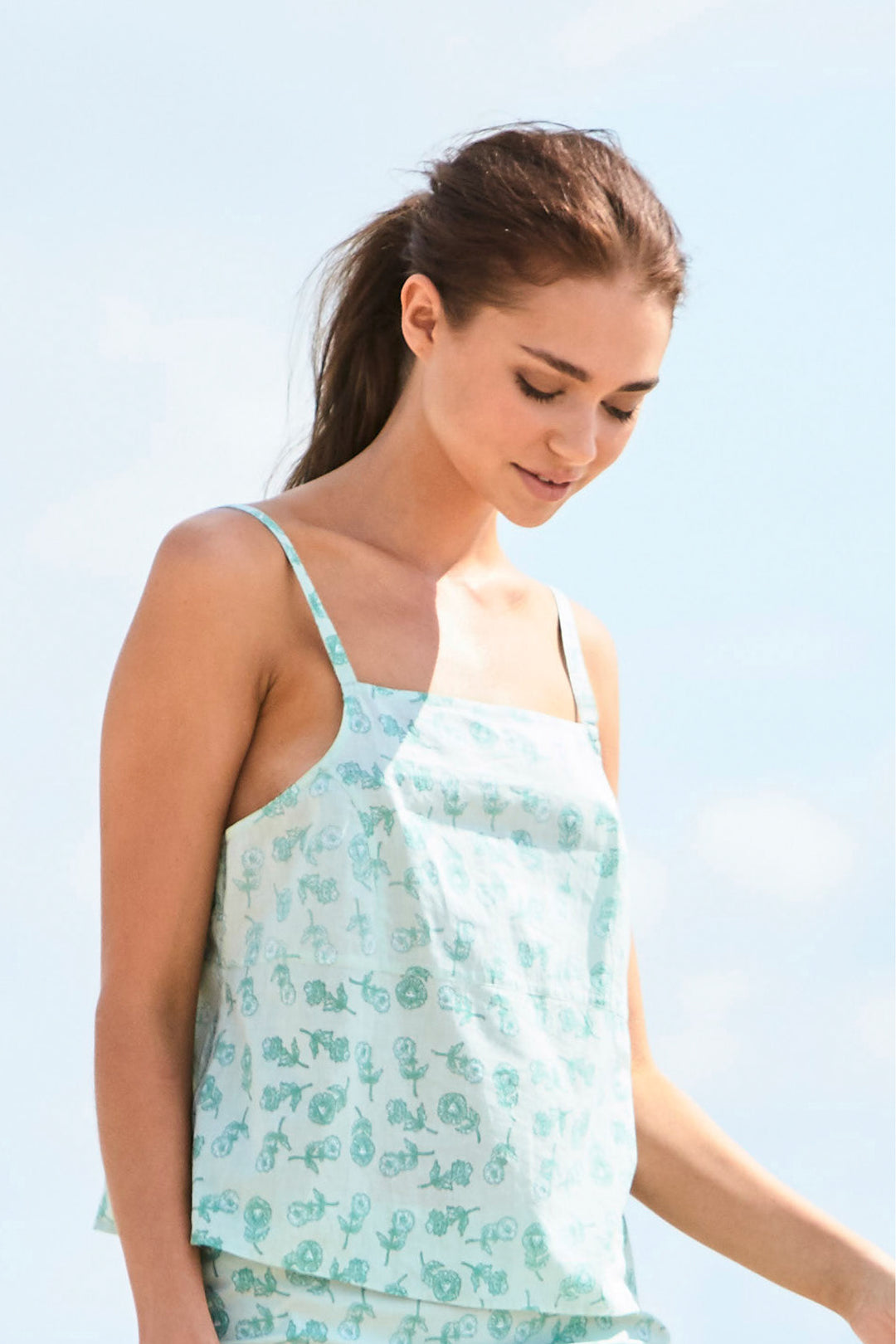 hand printed mint green dandylion cotton camisole top foundling