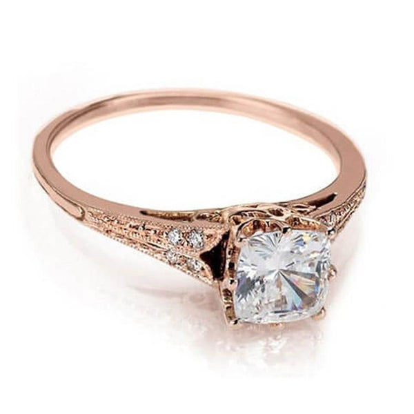 Rose gold cushion cut diamond engagement ring handcrafted