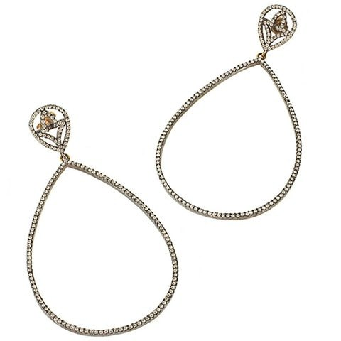 champagne diamond teardrop earrings