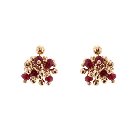 Delicate Ruby Gold Cluster Earrings