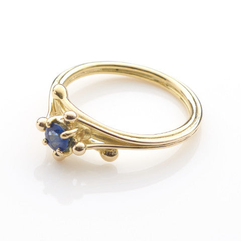 Yellow Gold Blue Sapphire Solitaire Ring
