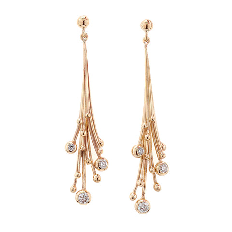 Statement Gold Diamond Drop Earrings