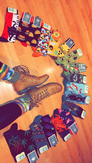 Colorful, crazy socks for men with animals and food themes.