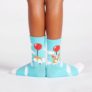Cute corgi socks for kids with corgi dogs flying on balloons and corgi butts