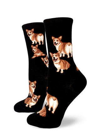 Corgi socks for women with cute corgis showing their fluffy butts on a black background