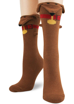 Funny 3D dog socks for women with floppy ears, dachshund faces and red collars