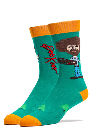 Fuzzy hair Bob Ross socks for men with 3D hair texture and the artist holding a palette of paint