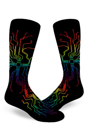 Rainbow motherboard socks for men with nerdy rainbow circuitboards on a black background