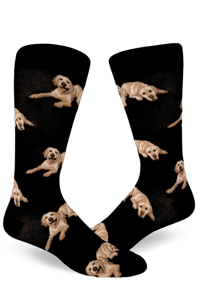 Labrador socks for men with yellow lab dogs on a black background