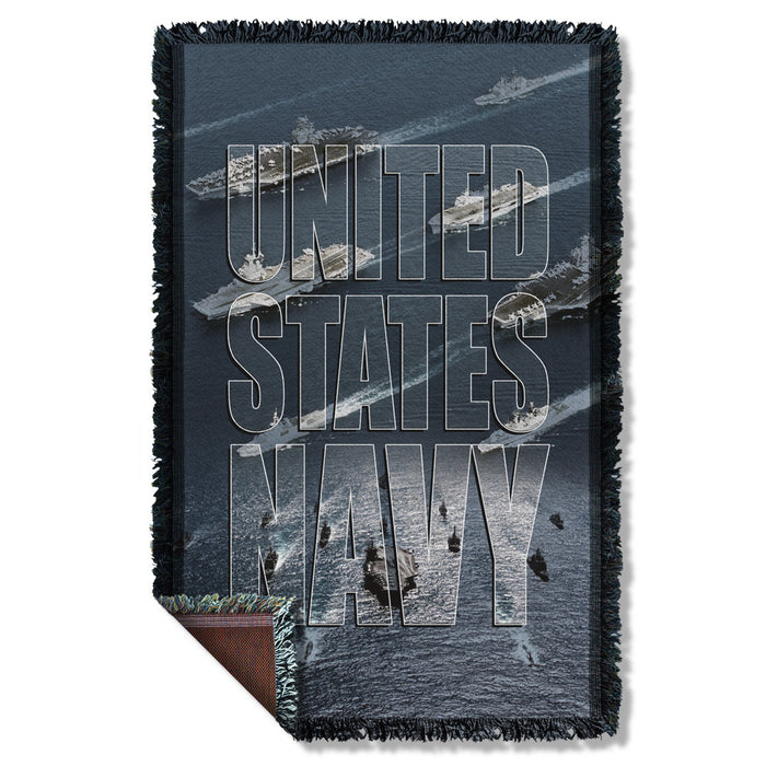 U.S. Navy Woven Throw Blanket - Ships At Sea
