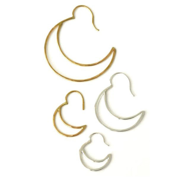 Large Silver Crescent Hoops