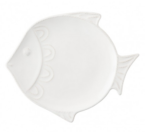 "Berry & Thread Sea Life Whitewash ""Fish"" Dessert/Salad Plate Set/4"