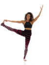 K-DEER - K-DEER Leggings - Cathy Wine Stripe - goyogi.dk