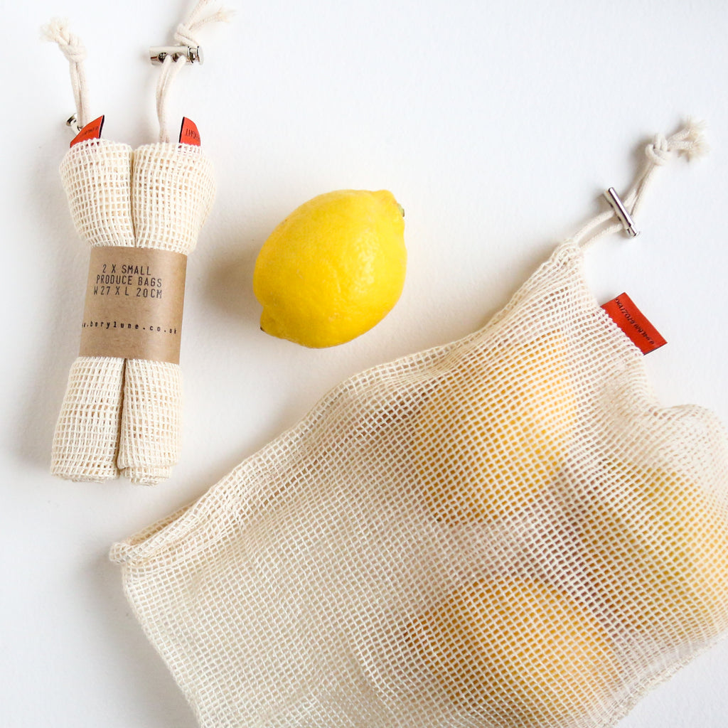 2 Small Cotton Net Produce Bags