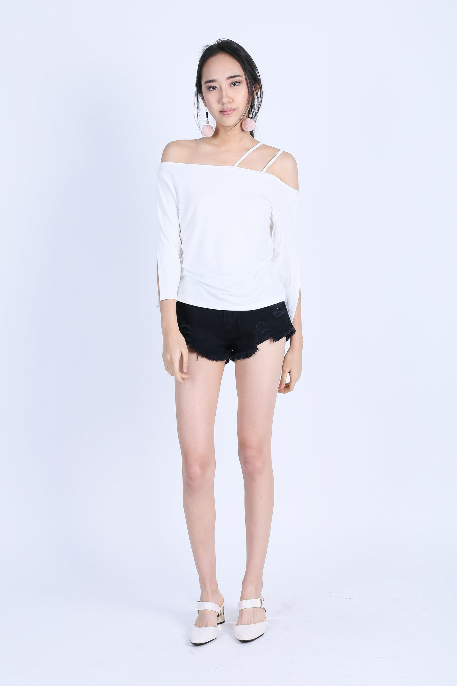 TINLEY DOUBLE STRAPS TOGA TOP IN WHITE