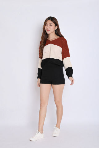 BRIGID COLOURBLOCK KNIT HOODIE