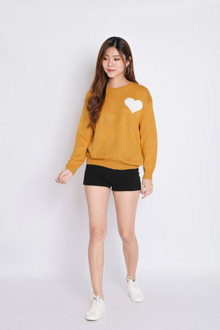 HEARTS KNIT TOP IN MUSTARD