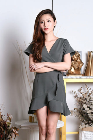 *TPZ* (PREMIUM) DAWN WRAP DRESS IN GREYISH GREEN