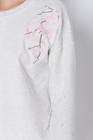 PRETTY SAKURA EMBROIDERY PULLOVER IN ASH GREY