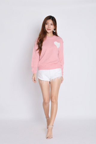 HEARTS KNIT TOP IN BABY PINK