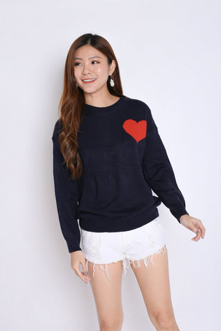 HEARTS KNIT TOP IN NAVY