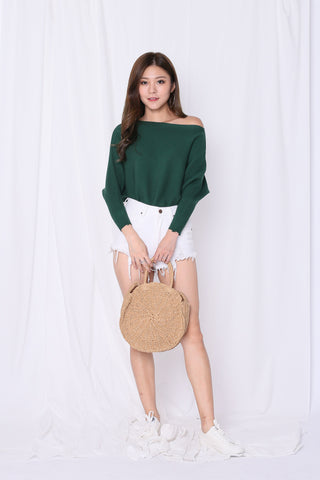 LEIA SLOUCH KNIT TOP IN FOREST