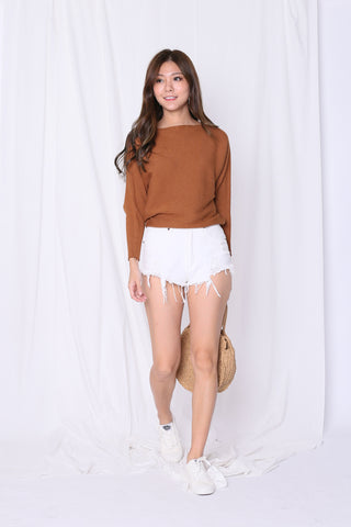 LEIA SLOUCH KNIT TOP IN BROWN