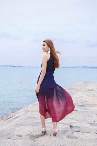 *TPZ* (PREMIUM) CONSTELLATION OMBRE MAXI ((NAVY/ BURGUNDY)