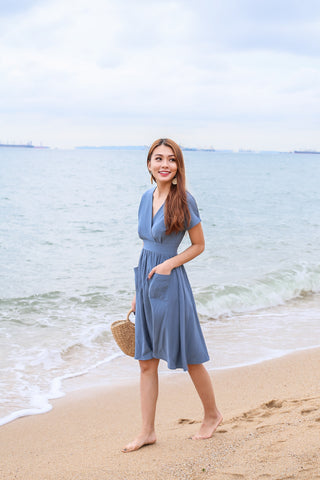 (PREMIUM) HANNAH POCKET MIDI DRESS IN STALE BLUE