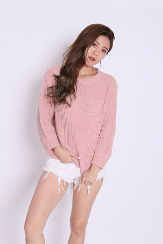 *RESTOCKED* ZESS CABLE SOFT KNIT PULLOVER IN PINK