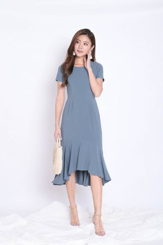 (PREMIUM) BRISA MERMAID RUFFLES DRESS IN STALE BLUE