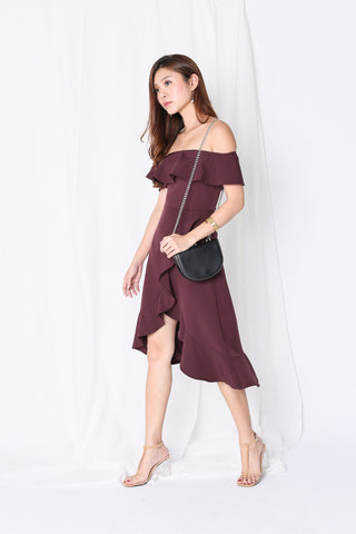 *TPZ* (PREMIUM) FRANCESCA RUFFLED MIDI DRESS IN PLUM