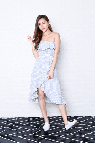 *TPZ* (PREMIUM) FRANCESCA RUFFLED MIDI DRESS IN LIGHT GREY GINGHAM