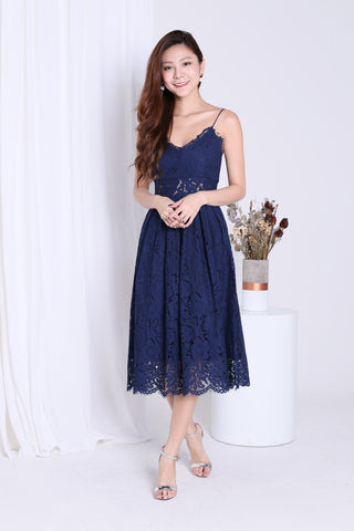 (RESTOCKED) *TOPAZ* (PREMIUM) HATHAWAY LACE SWEETHEART DRESS IN NAVY