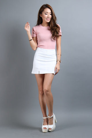 (RESTOCKED 5) STAPLE SKORTS IN WHITE - TOPAZETTE
