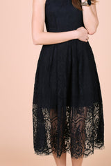 TOPAZ *PREMIUM* GRECIAN LACE MIDI DRESS IN BLACK