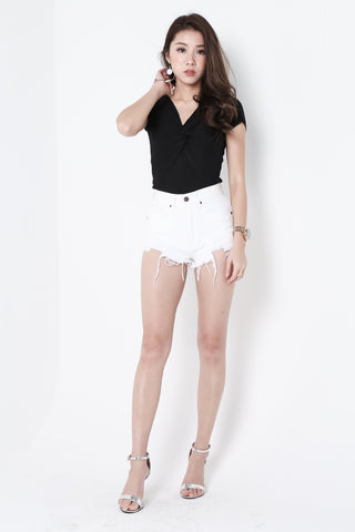 (RESTOCKED) MADE FOR YOU RIPPED DENIM SHORTS IN WHITE - TOPAZETTE