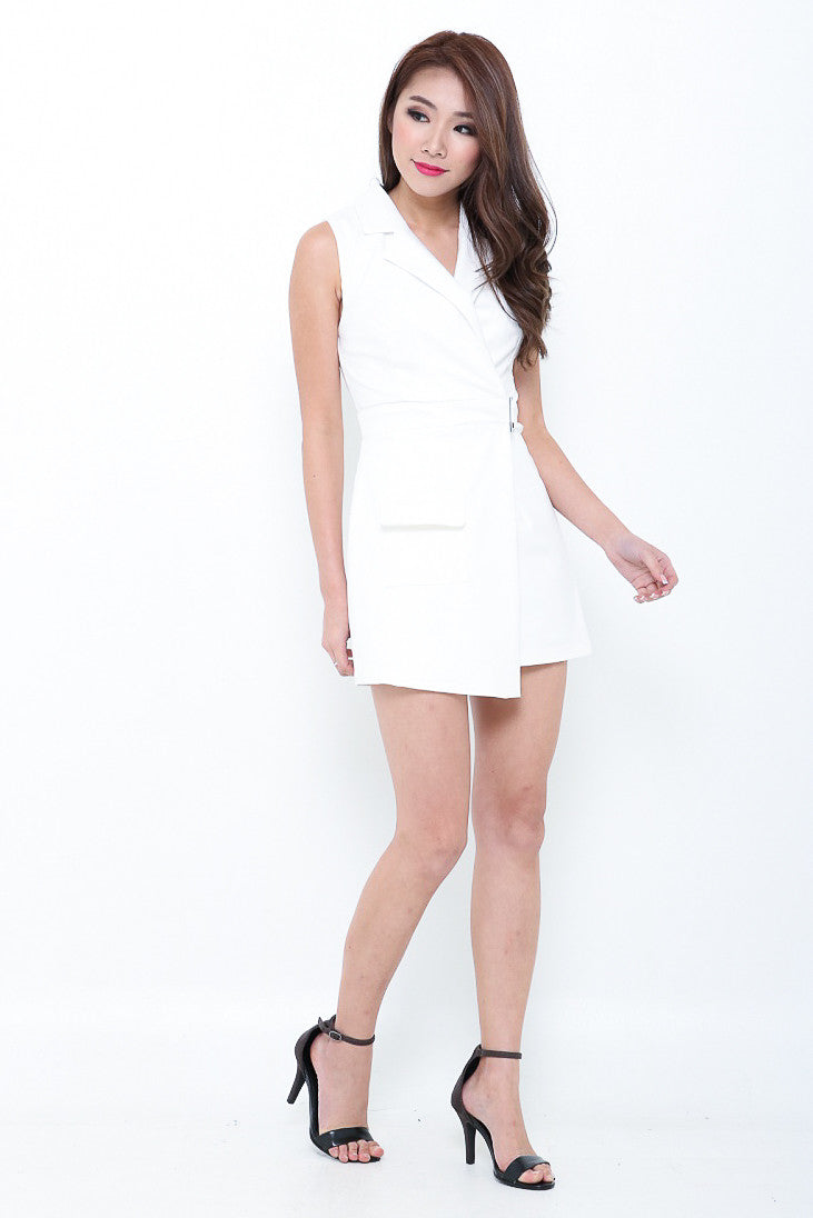 RESTOCKED 4 - (PREMIUM) SMART TRENCH ROMPER IN WHITE