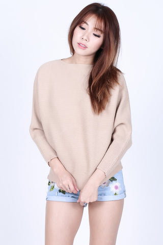 *RESTOCKED* LEIA SLOUCH KNIT TOP IN TAUPE - TOPAZETTE