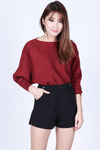 *RESTOCKED* LEIA SLOUCH KNIT TOP IN WINE