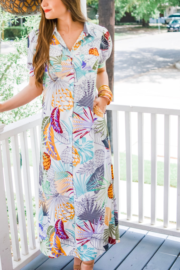 Sunny Days Relaxing Print Maxi Dress