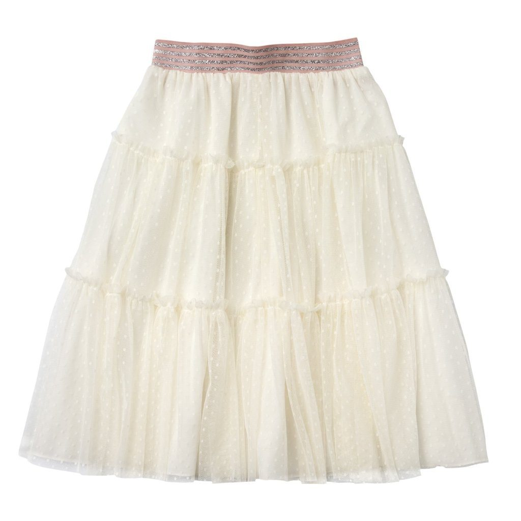 Long Tulle Skirt with Elastic Waistband Pink