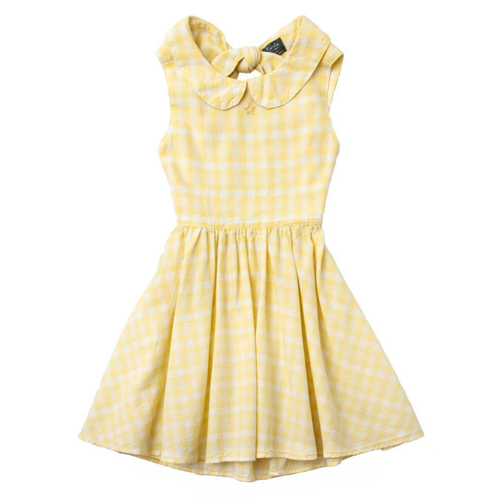 Vichy Squares Open-Back Dress Yellow