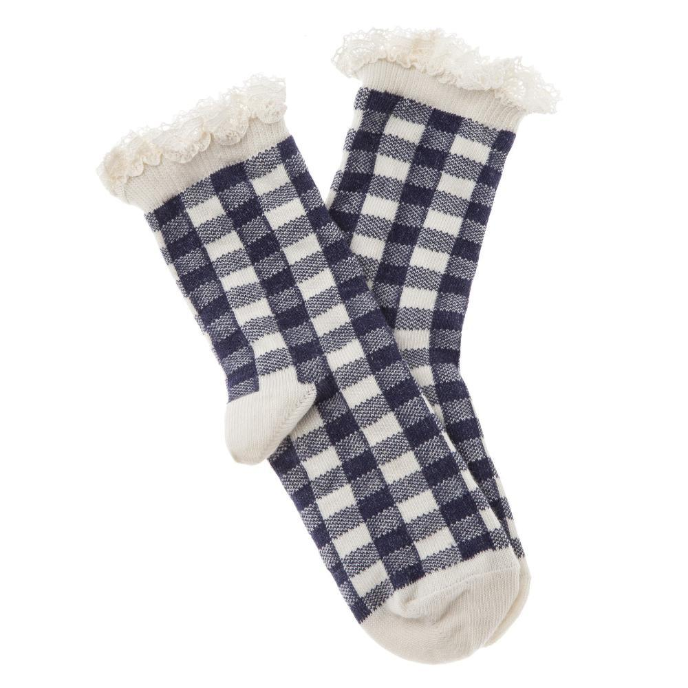 Vichy Squares Short Socks Navy