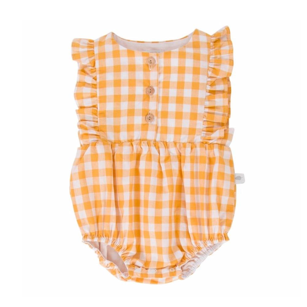 August Playsuit Mustard Gingham