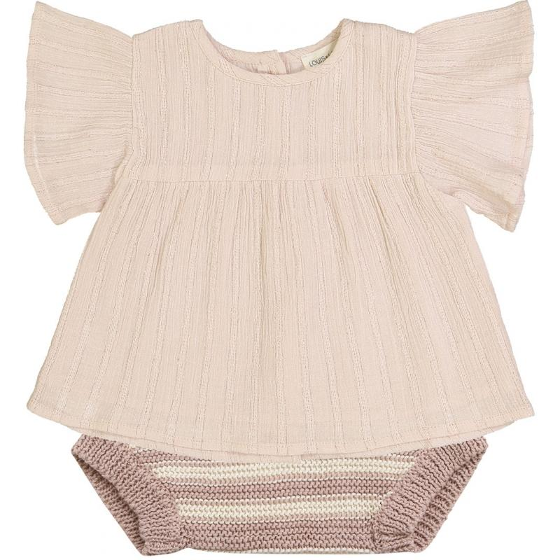 Bloomer Marmotte Knitted Cotton Stripes Pink & Off White