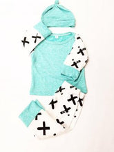 Criss, Cross Mint Set (Shirt, Bottoms and Hat) - Dribblebabies - 2