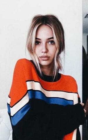 street striped sweater
